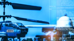 Government Military Technology Blurry Abstract Background, Helicopter And Drone With Computer Programming Code, Concepts Of Modern Military Operation.