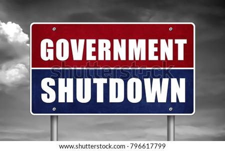 Government Shutdown road sign