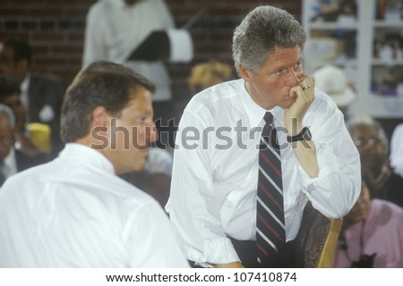 Governor Bill Clinton and Senator Al Gore at the Louis Stokes Day Care Center during the 1992 Buscapade campaign tour in East Cleveland, Ohio - stock photo