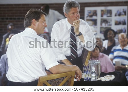 Governor Bill Clinton and Senator Al Gore at the Louis Stokes Day Care Center during the 1992 Buscapade campaign tour in East Cleveland, Ohio