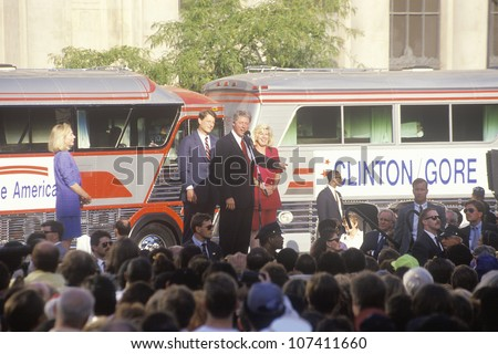Governor Bill Clinton and Senator Al Gore on the 1992 Buscapade campaign kick off tour in Cleveland, Ohio