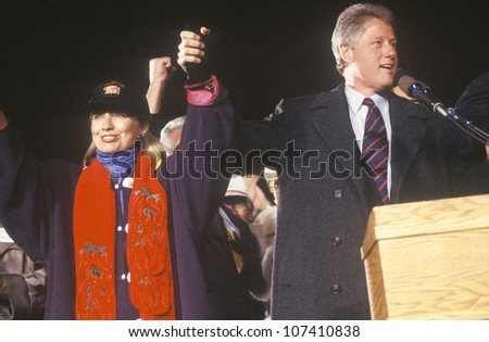 Governor Bill Clinton and wife Hillary at a New Mexico campaign rally in 1992 on his final day of campaigning, Albuquerque, New Mexico