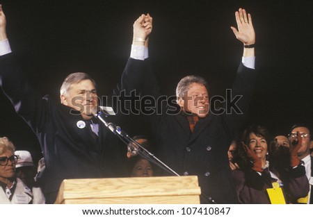 Governor Bill Clinton at a New Mexico campaign rally in 1992 on his final day of campaigning, Albuquerque, New Mexico