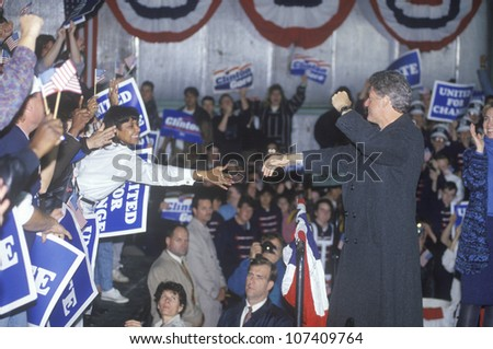 Governor Bill Clinton works the crowd at a Detroit campaign rally in 1992 on his final day of campaigning in Detroit, Michigan