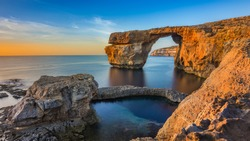 Gozo, Malta - The beautiful Azure Window, a natural arch and famous landmark on the island of Gozo at sunset