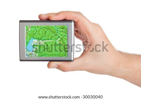 GPS in hand isolated on white background