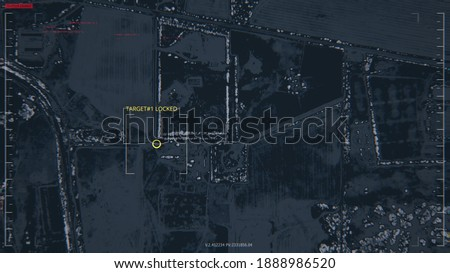 GPS location scanning interface. SIM card tracking. Following by spy security program. Blur, noise, chromatic abberations. Yellow target indicator. Satellite map view. 3D Render concept illustration Сток-фото ©