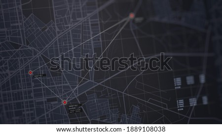 GPS location scanning interface. SIM card tracking. Following by spy security program. Blur, noise, chromatic abberations. Three target indicators. Satellite map view. 3D render concept illustration Сток-фото ©