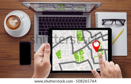GPS Map to Route Destination Location,Street Map with GPS Icons, Navigation #508265764