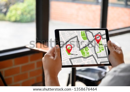 GPS Map to Route Destination network connection Location Street Map with GPS Icons Navigation #1358676464