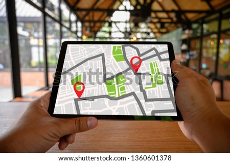 GPS Map to Route Destination network connection Location Street Map with GPS Icons Navigation #1360601378