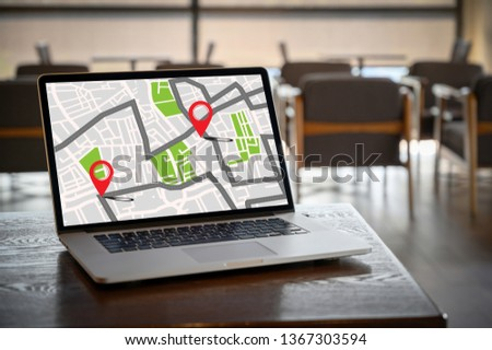 GPS Map to Route Destination network connection Location Street Map with GPS Icons Navigation #1367303594