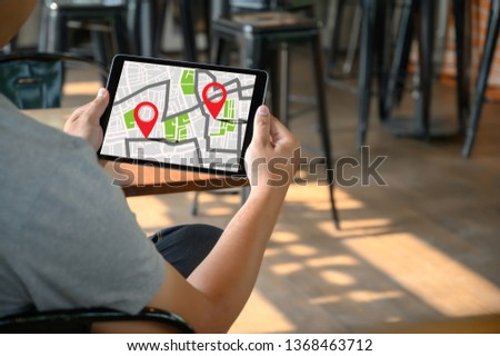 GPS Map to Route Destination network connection Location Street Map with GPS Icons Navigation #1368463712