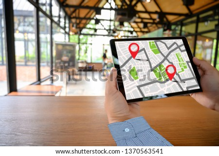 GPS Map to Route Destination network connection Location Street Map with GPS Icons Navigation #1370563541