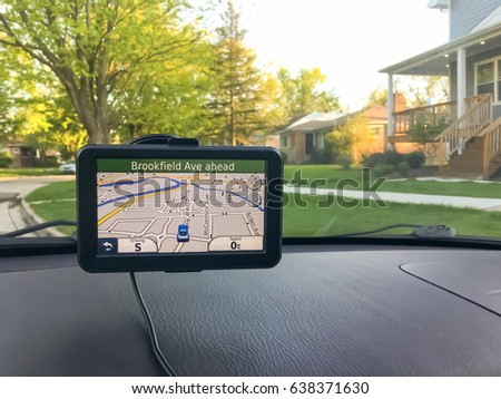 GPS Navigation System In The Car /  With Copy Space