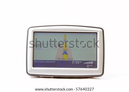 GPS navigator on white background - stock photo