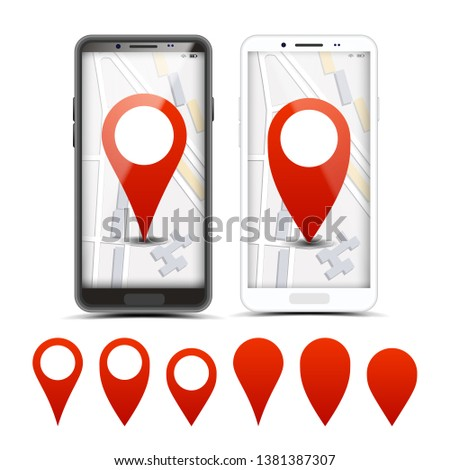 GPS Navigator Red Pointers, Markers Set. City Map Pointer, Pinpoint On Smartphone Screen. Location, Destination. Route, Path Finding. Delivery, Shipping Services Realistic Illustration