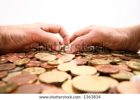 grabbing all the money, hands grabbing coins isolated/white background