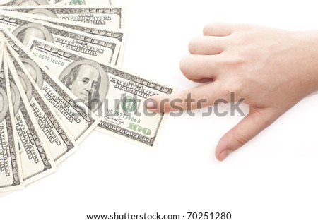 Grabbing money isolated on white background