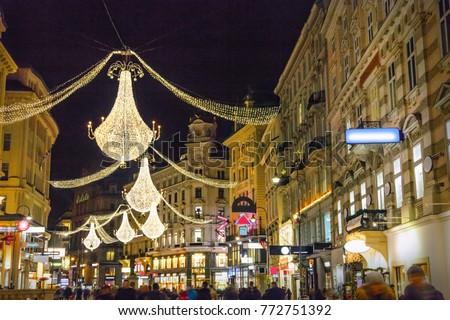 Graben street by night in Vienna, Austria #772751392