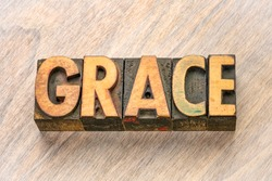 grace word abstract in vintage letterpress wood type printing blocks