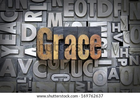 Grace written in vintage letterpress type