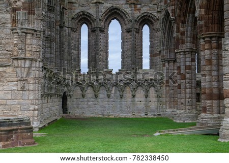 Graceful arches of the Whitby Abbey, Ruins near York, England