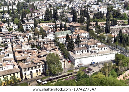 GRADANA - SPAIN / 04.11.2017: Aerial view of the city of Granada, Albaycin , viewed from the Alhambra palace in Granada, Spain #1374277547