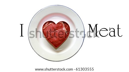 grade a prime choice raw beef steak cut into a heart shape on a white plate, with room for your text, isolated on white