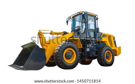 Photo of  Grader and Excavator Construction Equipment with clipping path isolated on white background