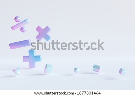 Gradient color basic math operation symbols and Geometry shape on white background. 3d render illustration. Mathematic education background concept. Photo stock ©