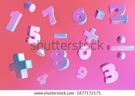 Gradient color number and basic math operation symbols on pink background. 3d render illustration. Mathematic education background concept. Foto stock ©