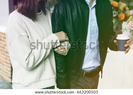Gradient Color Style with Couple Dating Happiness Enjoyment Holiday #663200503