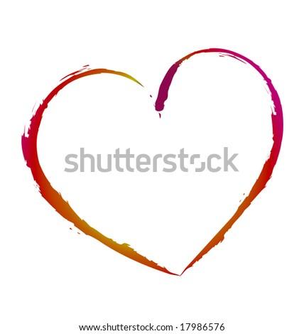 Gradient heart sketch