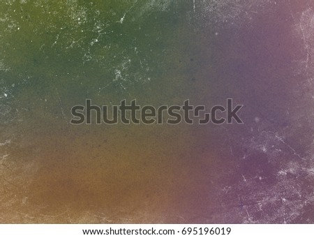 Gradient multicolored yellow orange pink green abstract background with shabby paint. Retro banner effect design with blank multicolored background. #695196019