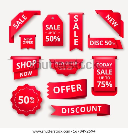 Gradient red realistic sales label collection