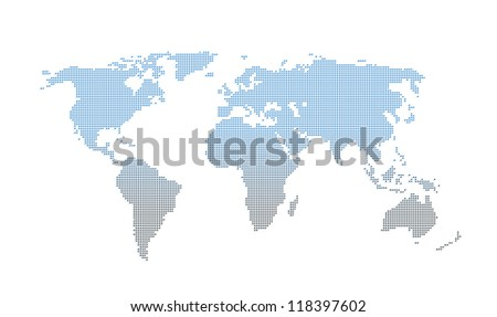 gradient square dotted world map on white