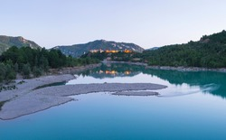 Grado reservoir of Cinca river in Congost de Entremon Gorge nearby Samitier village of La Fueva municipality of Sobrarbe region in Huesca province of Aragon Autonomous Community of Spain, Europe