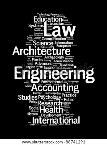 graduate and post graduate info-text graphics and arrangement concept on black background (word clouds)