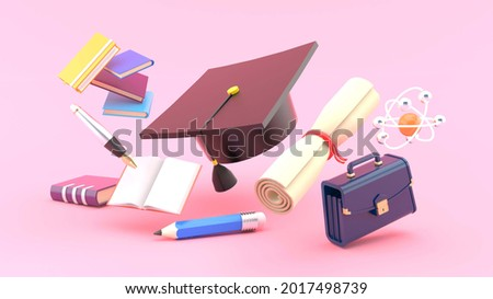 Graduate cap surrounded by graduation leaves, school bags, notebooks, stationery and atoms on pink background.Education idea for illustration.-3d rendering.