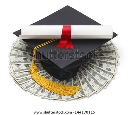 Graduate Hat with Degree and Cash Money Isolated on White Background.
