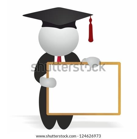 Graduate holding wooden whiteboard