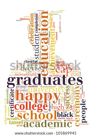 Graduate info-text graphics and arrangement concept (word cloud)