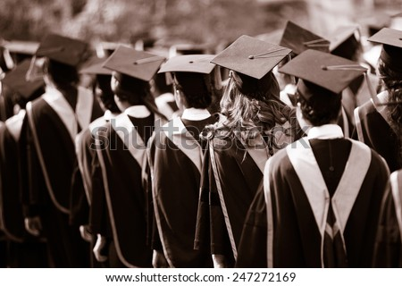 Graduates are walking in line to get your degree,monotone