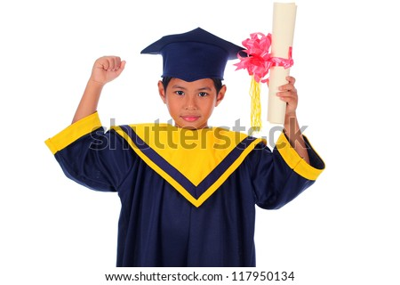 graduating little asian student kid isolated on white