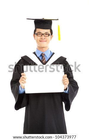 graduating student showing blank diploma certificate