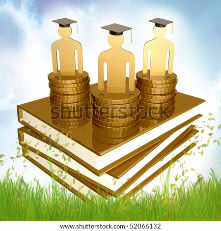 Graduation and scholarship fund icon illustration