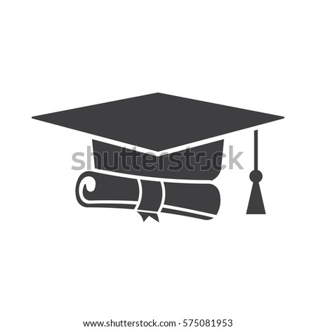 graduation cap and diploma black web icon.
