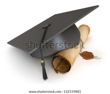 Graduation cap and diploma Conceptual illustration Isolated on white background 3D render