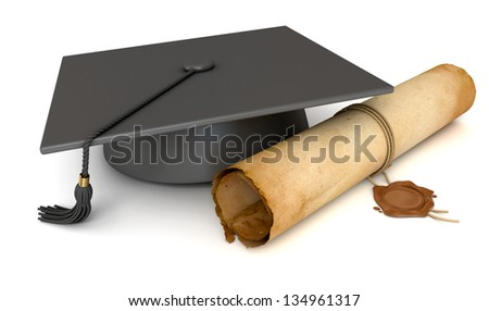 Graduation cap and diploma. Old Scroll paper with wax seal. Conceptual illustration. Isolated on white background. 3d render